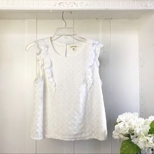 Monteau Sleeveless White Lace Top- Lined
